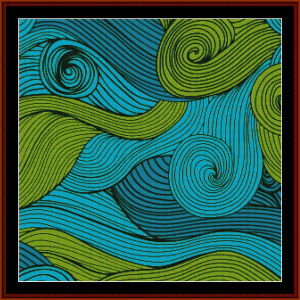 blue and green swirls - abstract cross stitch pattern by cross stitch collectibles