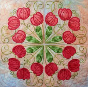 Tulips Filigree Machine Embroidery 6x6 - JEF | Crafting | Embroidery