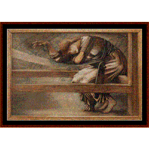 study for the garden court - burne-jones cross stitch pattern by cross stitch collectibles