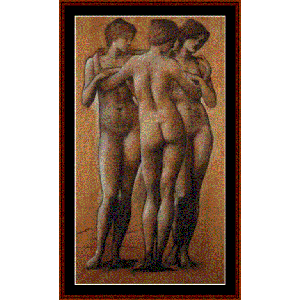the three graces - burne-jones cross stitch pattern by cross stitch collectibles