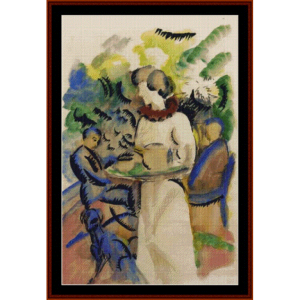 afternoon in the garden - macke cross stitch pattern by cross stitch collectibles