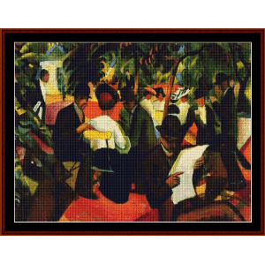 garden restaurant - macke cross stitch pattern by cross stitch collectibles