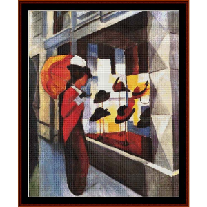 the hat shop, 1913 - macke cross stitch pattern by cross stitch collectibles
