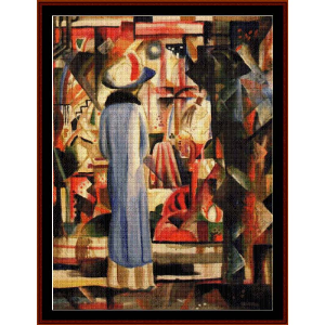 woman at illuminated window - macke cross stitch pattern by cross stitch collectibles
