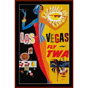 las vegas - vintage poster cross stitch pattern by cross stitch collectibles