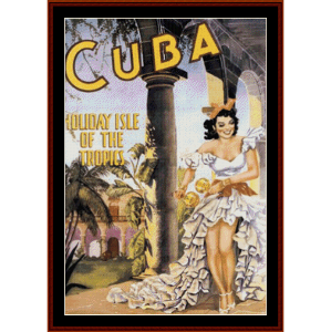 cuba - vintage poster cross stitch pattern by cross stitch collectibles