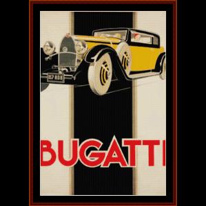 bugatti - vintage poster cross stitch pattern by cross stitch collectibles