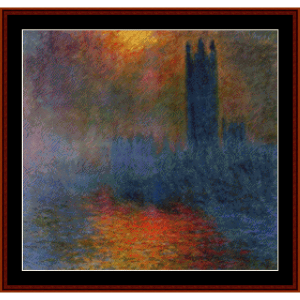houses of parliament, london monet cross stitch pattern by cross stitch collectibles