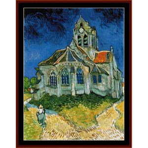 church at auvers - van gogh cross stitch pattern by cross stitch collectibles