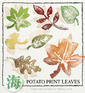 potato print leaves