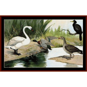 water birds cross - wildlife cross stitch pattern by cross stitch collectibles
