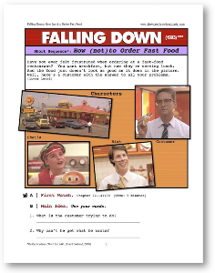 falling down, how (not) to order fast food, short-sequence english (esl) lesson