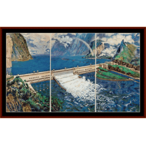 three gorges dam - asian art cross stitch pattern by cross stitch collectibles