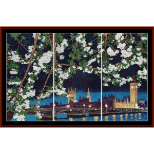 house of parliament and big ben - asian art cross stitch pattern by cross stitch collectibles