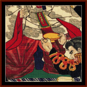 emperor's gift cup - asian art cross stitch pattern by cross stitch collectibles