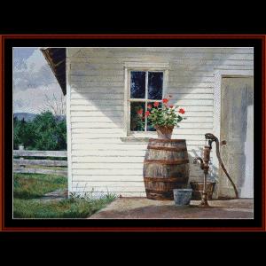 summer kitchen - americvana ltd. ed. cross stitch pattion by cross stitch collectibles