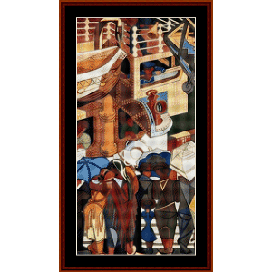 Departure of Immigrants, Left - Almada Negreiros cross stitch pattern by Cross Stitch Collectibles | Crafting | Cross-Stitch | Wall Hangings