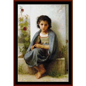 The LIttle Knitter, 1882 - Bouguereau cross stitch pattern by Cross Stitch Collectibles | Crafting | Cross-Stitch | Wall Hangings