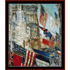 Allies Day, May - Childe-Hassam cross stitch pattern by Cross Stitch Collectibles | Crafting | Cross-Stitch | Wall Hangings
