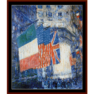 flags on the waldorf i - childe-hassam cross stitch pattern by cross stitch collectibles