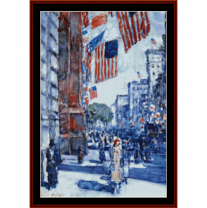 flags, fifth avenue - childe-hassam cross stitch pattern by cross stitch collectibles