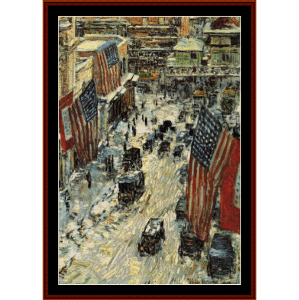 flags on 57th st., winter - childe-hassam cross stitch pattern by cross stitch collectibles