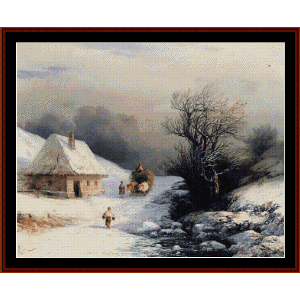 little russian oxcart in winter - aivazovsky cross stitch pattern by cross stitch collectibles
