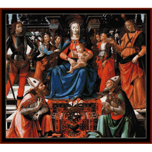 madonna enthroned with saints - ghirllandaio cross stitch pattern by cross stitch collectibles
