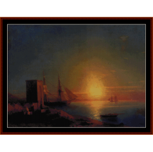 coastal landscape at sunset - aivazovsky cross stitch pattern by cross stitch collectibles