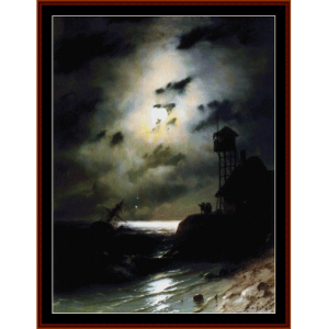 Moonlit Seascape wth Shipwreck - Aivazovsky cross stitch pattern by Cross Stitch Collectibles | Crafting | Cross-Stitch | Wall Hangings
