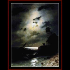 moonlit seascape wth shipwreck - aivazovsky cross stitch pattern by cross stitch collectibles