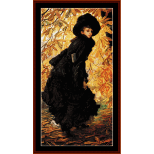 october - tissot cross stitch pattern by cross stitch collectibles