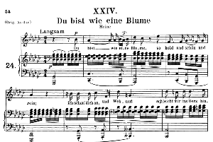 du bist wie eine blume op 25 no.4, medium voice in g flat major, r. schumann (myrten), c.f. peters