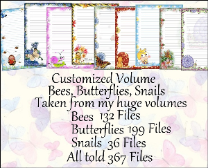 "printable stationery designs: custom stationery selection volume ""bees butterflies snails"""
