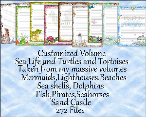 "printable stationery designs: custom stationery selection volume ""sea life, turtles & tortoises"""