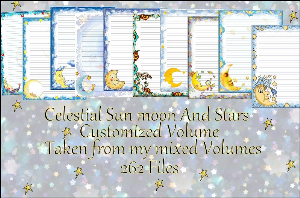 "printable stationery designs: custom stationery selection volume ""celestial sun moon and stars"""