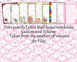 "printable stationery designs: custom stationery selection volume ""pens, letters mail boxes & notebooks"""
