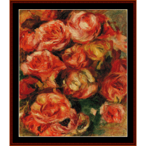 bouquet of roses iii - renoir cross stitch pattern by cross stitch collectibles