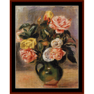 bouquet of roses - renoir cross stitch pattern by cross stitch collectibles
