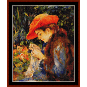 marie therese sewing - renoir cross stitch pattern by cross stitch collectibles
