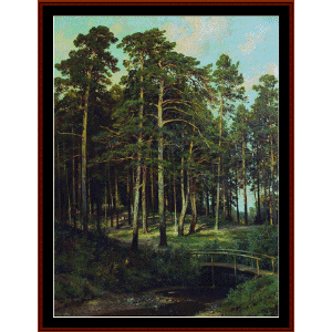 bridge in the forest, 1895 - shishkin cross stitch pattern by cross stitch collectibles