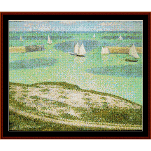 entrance to the harbor, 1888 - seurat cross stitch pattern by cross stitch collectibles