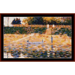 boats near the beach, 1883 - seurat cross stitch pattern by cross stitch collectibles