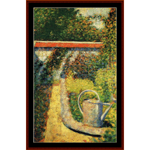 the watering can, 1883 - seurat cross stitch pattern by cross stitch collectibles