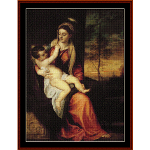 mary with the christ child, 1561 - titian cross stitch pattern by cross stitch collectibles
