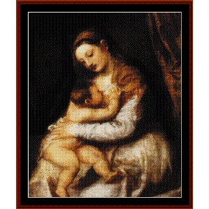 Madonna and Child, 1570 - Titian cross stitch pattern by Cross Stitch Collectibles | Crafting | Cross-Stitch | Wall Hangings