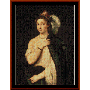 young woman with feather hat - titian cross stitch pattern by cross stitch collectibles