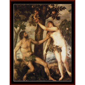 the fall of man, 1570 - titian cross stitch pattern by cross stitch collectibles