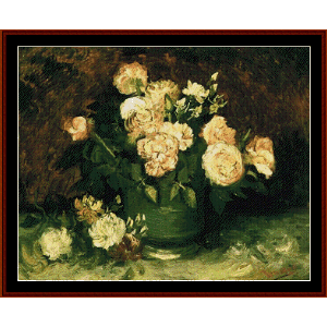 Bowl with Peonies and Roses - Van Gogh cross stitch pattern by Cross Stitch Collectibles | Crafting | Cross-Stitch | Wall Hangings