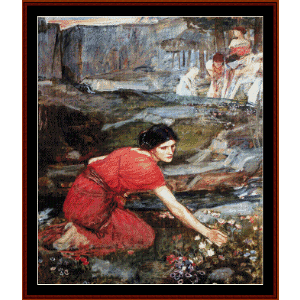 maidens picking flowers - waterhouse cross stitch pattern by cross stitch collectibles
